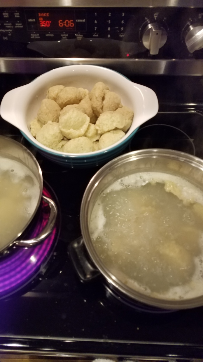 Boiling the dumplings. I don't do this part, my brother does because he ate 10 dumplings.